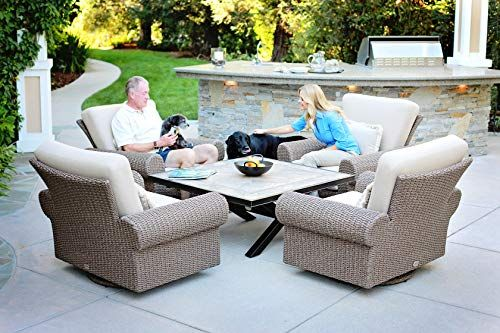 Pacific Shoreline 5pc Conversation Set With Rocking Lounge Chairs 46 Inch Porcelain Coffee Ta Swivel Rocking Chair Patio Lounge Chairs Outdoor Furniture Sets