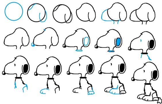 how to draw snoopy the dog face and body  easy free step by step drawing tutorial for kids