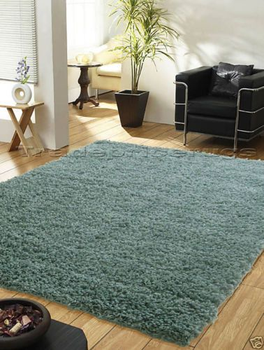 Extra Large Duck Egg Blue Teal Thick Plain Shaggy Luxurious Rug