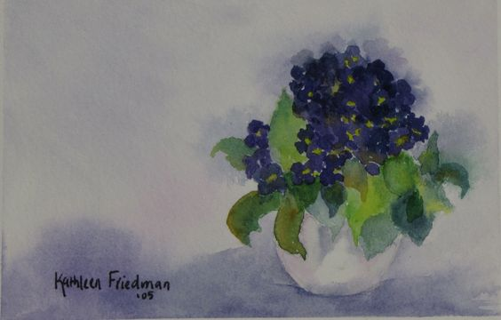 Violets in watercolor  Kathleen Friedman