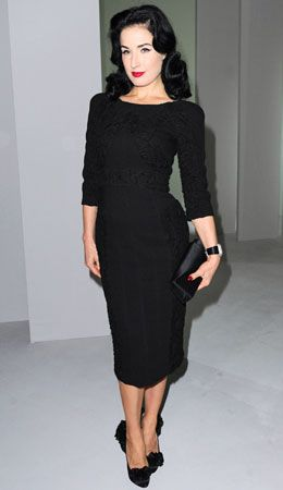 Black dress with sleeves (Dita Von Teese)