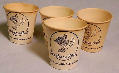 Chesapeake & Ohio Railroad Chessie Route old Dixie paper cups (4) cat kitten