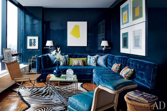 A zebra rug (hopefully faux) packs a powerful punch. Todd Romano's Stylish Small Space
