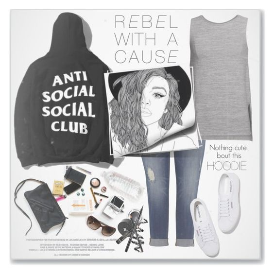"""""""The not so cute Hoodie style...#edgy #hoodie #jeans #tank #sneakers #beauty #polyvore"""" by fashionlibra84 ❤ liked on Polyvore featuring Velvet by Graham & Spencer and Superga"""