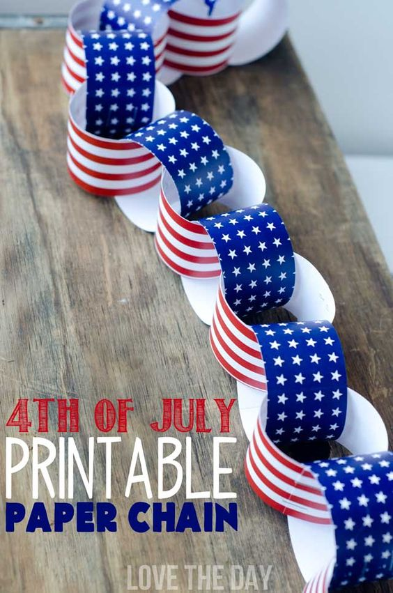 Fourth Of July Craft:: Patriotic Paper Chain, a Free Download by Love The Day:
