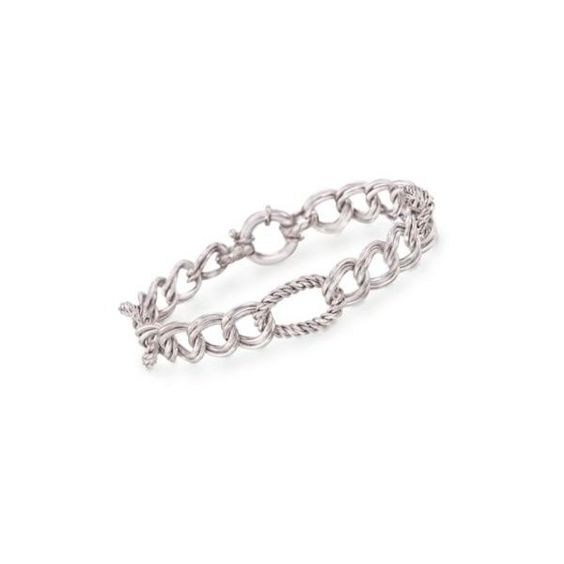 """Ross-Simons Italian Sterling Silver Multi-Link Bracelet. 7.5"""" (7140 RSD) ❤ liked on Polyvore featuring jewelry, bracelets, silver, sterling silver jewelry, sterling silver jewellery, ross-simons, sterling silver bangles and ross simons jewelry"""