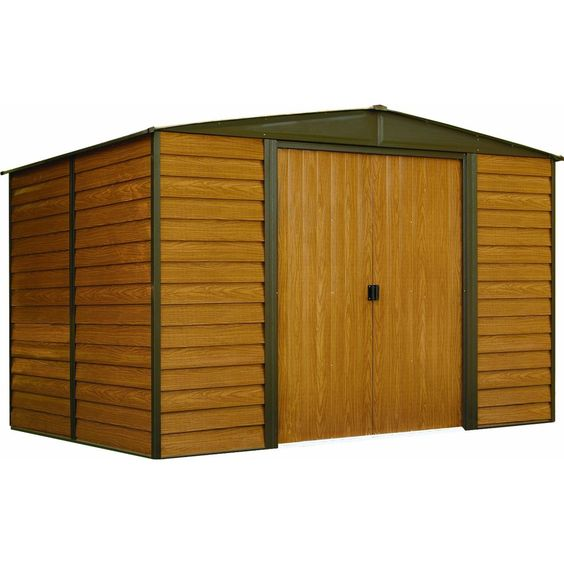 """The Arrow Woodridge 10' x 12' storage shed offers 734 cubic feet of storage.   Featuring a unique wood grain print and horizontal panel design.  55"""" wide door opening, this has plenty of room for most lawn mowers and other outdoor equipment."""