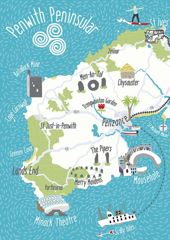 Illustrated map of the Penwith Peninsula by BekCruddaceDesign
