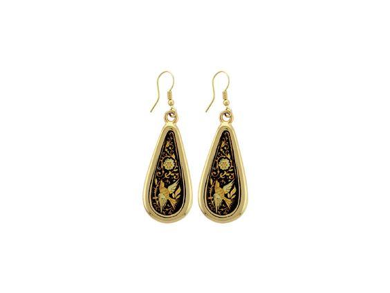 Pendientes damasquinados en oro LÁGRIMA REM - Toledo Gold