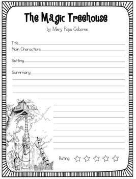 Free: the magic treehouse book reports 3 versions | school fun.