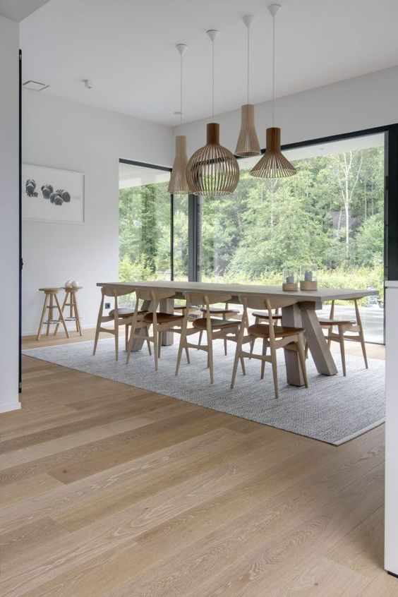 Simple dining room but the feature that really gets me is the huge window