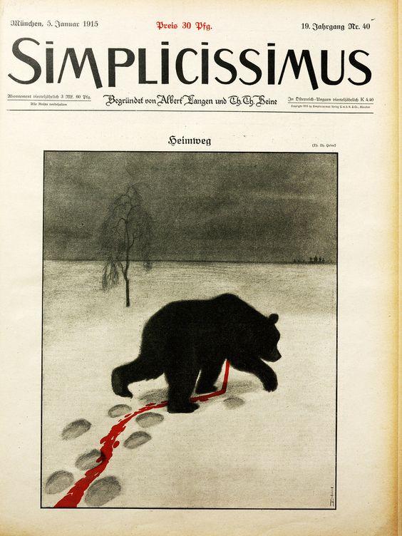 WW1. The Russian Bear is bleeding. German propaganda newspaper illustration…