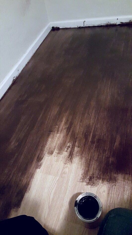 Gel Stain for Laminate floors   Diy stain laminate floors yes laminate, I bought gel stain from home depot for $15-20. No prep at all, I did a double coat of the stain. No sanding required, just a good sweep with the swifter. It took about 36 hours for it to completely dry, not 24 as the label said. I used a brush and not a cloth wipe, because i wanted it to look a little bit more like real wood and it gives it a realistic texture. More pics to be uploaded when im completely done. ♡Ashley…