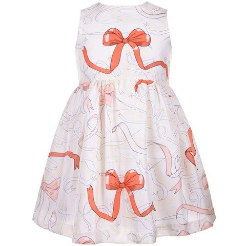 Hucklebones Cream Ribbon Printed Silk Dress