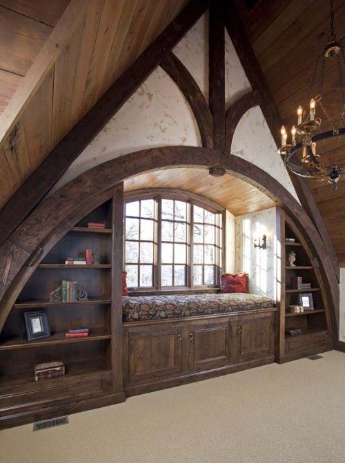 Rustic reading nook at the top of the house