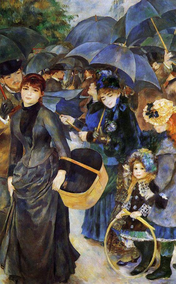 """""""Les parapluies"""" huile sur toile de Pierre-Auguste Renoir (1841-1919). Peintre impressionniste français. Voir """"La parisienne"""" : http://upload.wikimedia.org/wikipedia/commons/8/86/Pierre-Auguste_Renoir_089.jpg"""