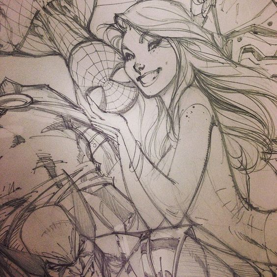 Spider-man Sketch, J scott Campbell Mary-Jane, Wolverine