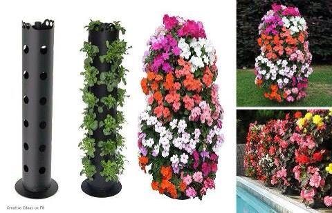 Floreira vertical feita com cano hidráulico.