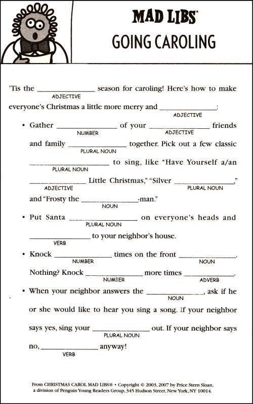 Christmas Mad Libs Worksheets: Free Printable Christmas Mad Libs   We  Funny and Funny christmas,