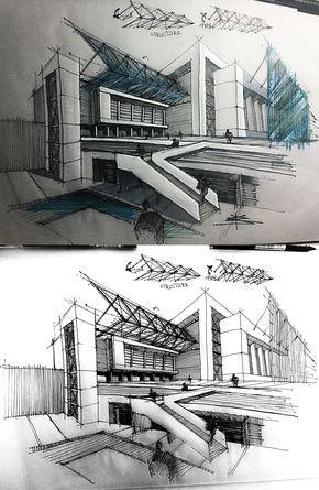 Sketchbook Inspiration Design Architecture Building Design Contempo Architecture concept drawings Architecture sketchbook Perspective drawing architecture