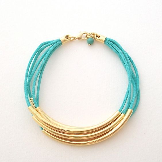Faux Wrap Turquoise Bracelet — gold tube beads and turquoise cord bracelet . handmade jewelry by MoshPoshDesigns. via Etsy.
