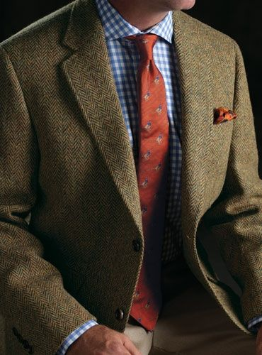 Oak And Bottle Green Herringbone Harris Tweed Sport Coat