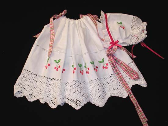 Pillowcase Dress for Babies and Toddlers with Cherries Embroidery Design