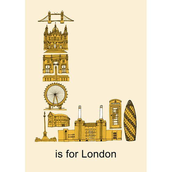 L is for London - Print - Folksy  http://folksy.com/items/2667013-L-is-for-London-Print