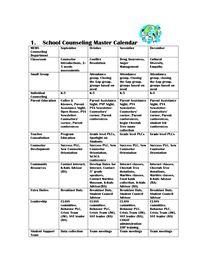 School counseling master calendar counselor materials - Garden grove school district calendar ...