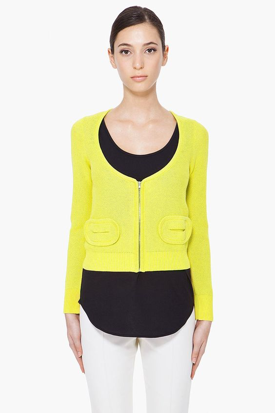 CARVEN //  SULFUR BEENEST KNIT CARDIGAN  21319F121001    Long sleeve scoopneck cardigan in sulfur. Zipper closure at front. Small oval patch pockets at front. Ribbed sleeve cuffs and hemline. Tone on tone stitching. 53% cotton, 48% viscose. Dry clean only. Imported.  $515.00 USD  $258.00 USD You Save 50%  This item is on final sale     SIZE GUIDE  ADD TO BAG