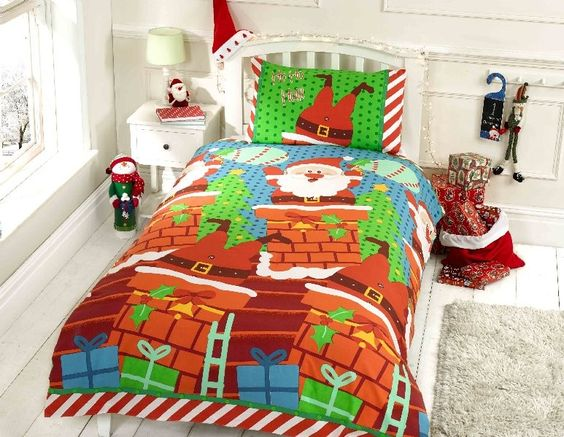 Santa's Chimney Duvet Cover Set - Single