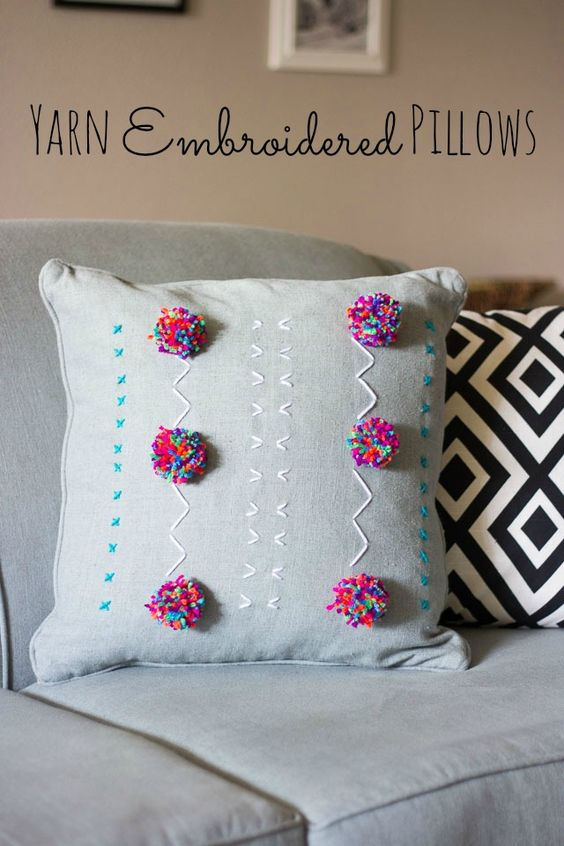 Embroidered Pillows Yarns And Design On Pinterest
