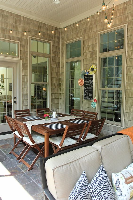 ikea pplar dining set on a screened porch furniture pinterest table and chairs covered. Black Bedroom Furniture Sets. Home Design Ideas