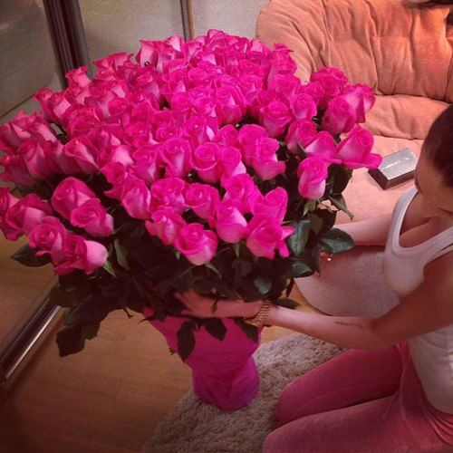 pink roses with valentine