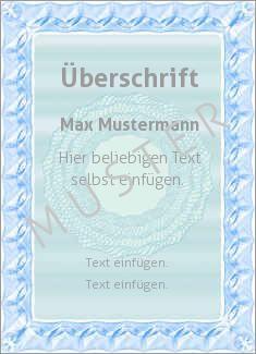 Muster Zertifikat, Diplom, Urkunde Diplom, Zertifikat Wertpapier, Blau, Grau