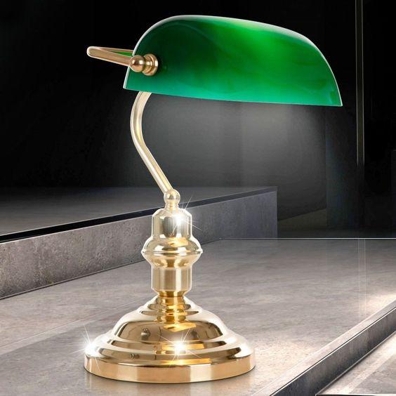 Bankers lamp desk lamp table lamp reading light Antique green shade Metall Brass in Home, Furniture & DIY, Lighting, Other Lighting   eBay