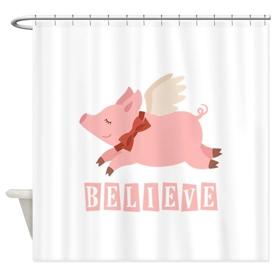 Believe Flying Pig Shower Curtain By Cafepets With Images
