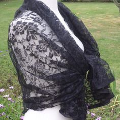 Etole écharpe foulard femme dentelle  agréable  mariage noir