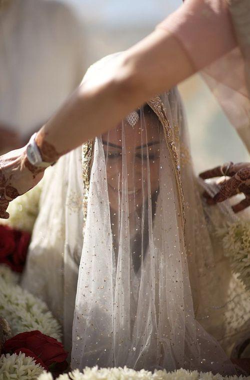 Beautiful pakistani bride in veil #PerfectMuslimWedding.com