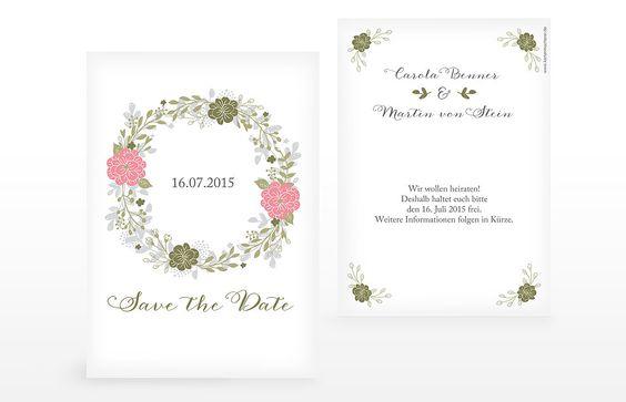 """Die florale Save-the-Date Karte """"Blumenkranz"""" ist wie geschaffen für die Boho Hochzeit."""