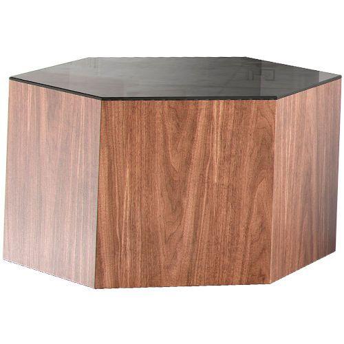 Modloft Centre Walnut And Black Glass 10 Inch Coffee Table Md405