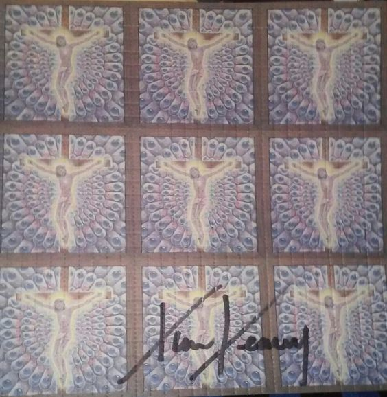 Alex Grey Carbon Jeezus signed by Tim Leart at Artrock the day after Jerry died...