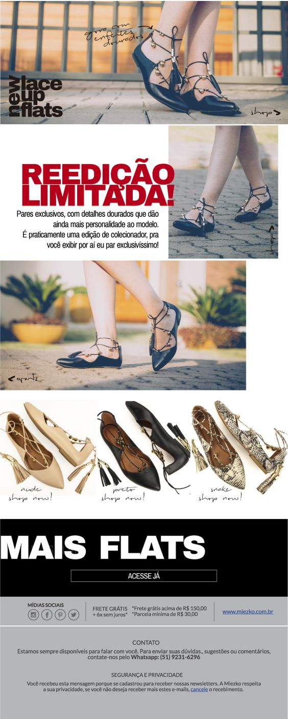 Novidade no shop: Lace Up Flats, agora com enfeites dourados!! Compre já a sua: http://shop.miezko.com.br/pesquisa/?p=m3732