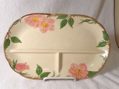 "Vntg Franciscan Ware 3-Part Oval Relish Dish in the Desert Rose Pattern ~ 12"" L (eBay) - $10"
