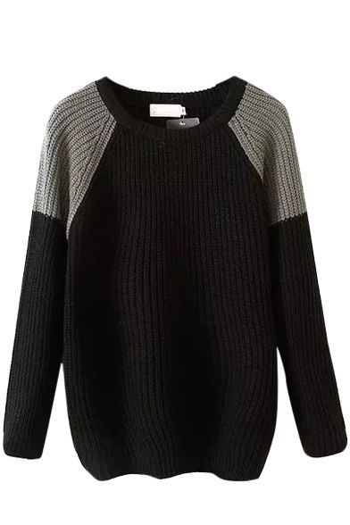 Loose Color Block Round Neck Long Sleeve Sweater, Quality Unique Sweaters & Cardigans - Beautifulhalo.com