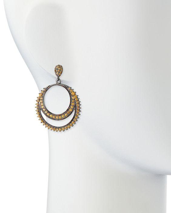 Rings of Fire Orange Sapphire Earrings