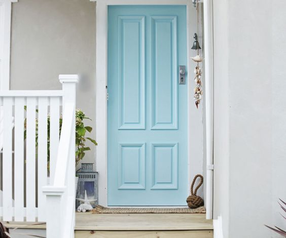 Baby blue front door
