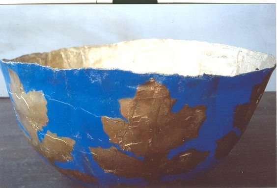Bowl, textile, paint 40x20 cm