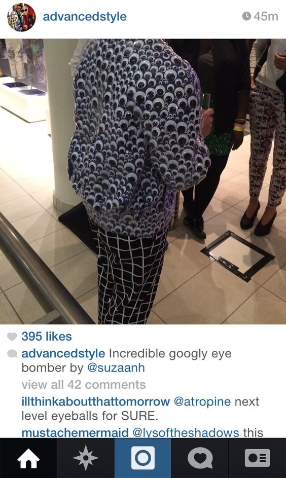 Instagram Inspiration from the Advanced Style account - All about standing out from the crowd.