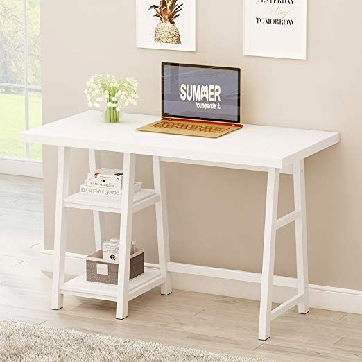 Tribesigns Modern Writing Desk 47 Computer Desk Pc Laptop Study Table With Reversible Storage Shelves Desks For Small Spaces Writing Desk Modern Office Desk